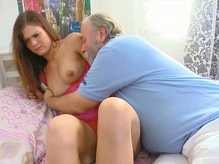 Aged fart eagerly licks this coed's deliciously dear punani