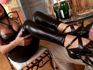 Alison Star loves wearing leather pants with the addition of she gives a magic footjob