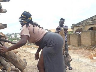 Ebony with a huge ass came for firewood