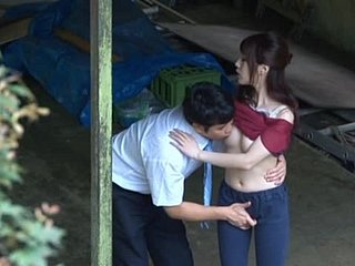 Horny Japanese Couple Fucking Outdoors.