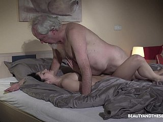 Lucky old guy seduced by Emily Brix into doggy fucking her