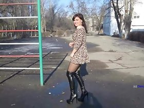 Russian MILF dance with respect to overknee serving-wench coupled with short unladylike