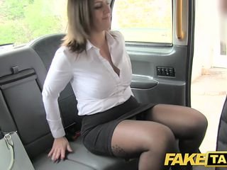 Fake Taxi office girl take stockings rimming anal coitus increased by swallowing