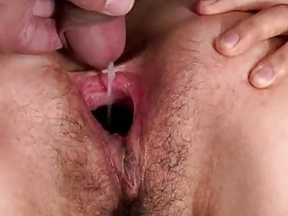 Nutty asian non-specific sperm fill & pussy gape