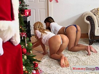 Busty stepmommy doggystyled apart from Santa Clause